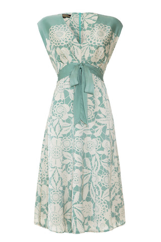 Mimi bow dress in aqua lace stencil print