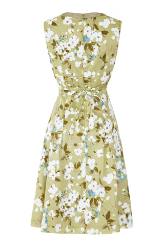 Bardot dress in green Candy Floral silk cotton - back mannequin shot