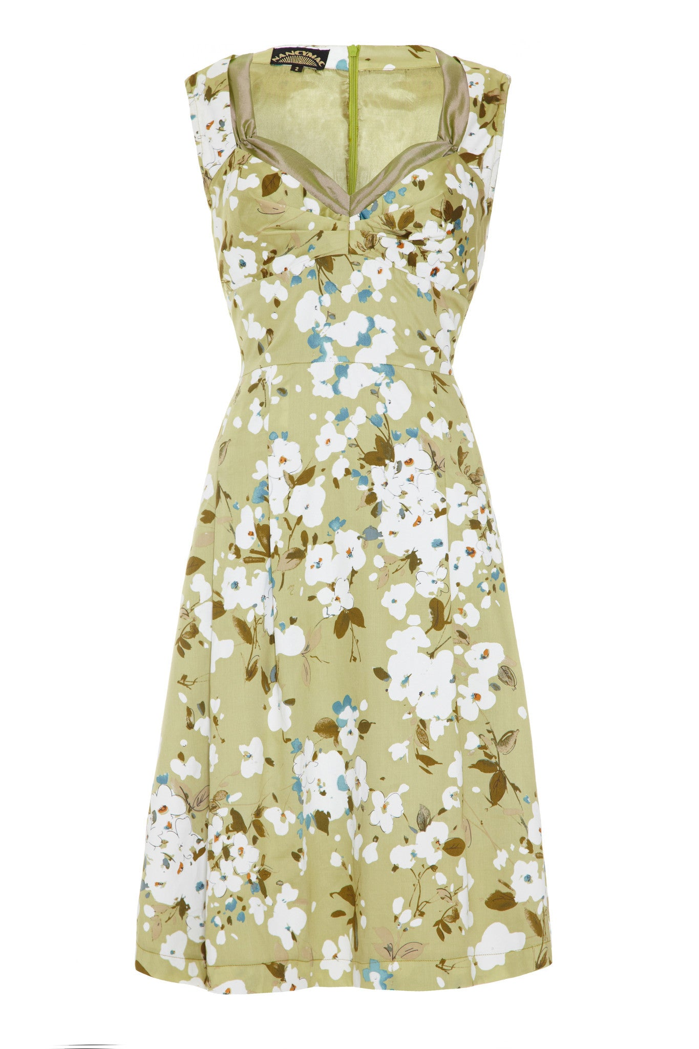 Bardot dress in green Candy Floral silk cotton - front mannequin shot