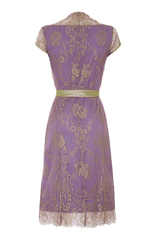 Olivia dress in orchid lace - back mannequin shot