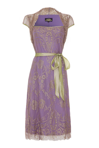 Olivia dress in orchid lace - front mannequin shot