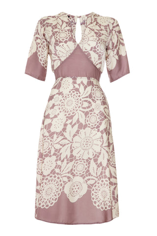 Mae dress in sweet pea lace stencil print silk viscose - mannequin front