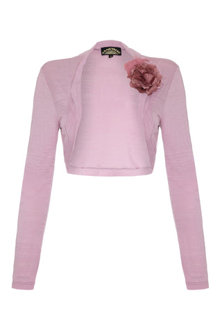 Belle shrug in rose fine knit - front mannequin shot