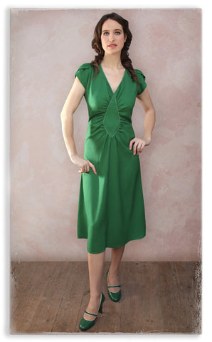 Nancy Mac Anya dress in green moss crepe - second model shot