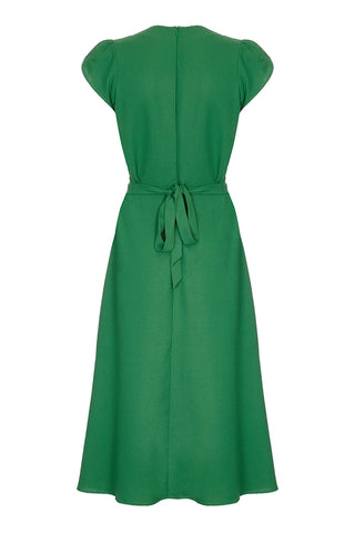 Nancy Mac Anya dress in green moss crepe - mannequin back