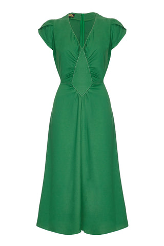 Nancy Mac Anya dress in green moss crepe - mannequin front