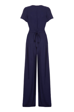 Nancy Mac Anya jumpsuit in navy blue moss crepe - back mannequin