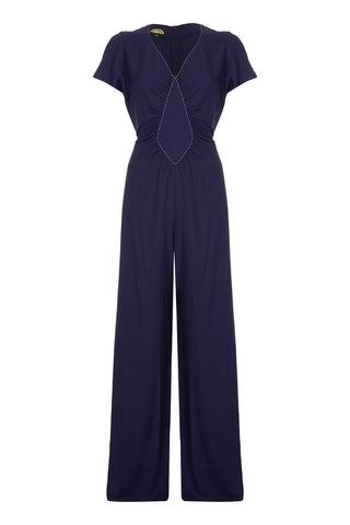 Nancy Mac Anya jumpsuit in navy blue moss crepe - front mannequin