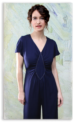Nancy Mac Anya jumpsuit in navy blue moss crepe