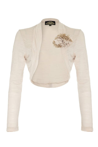 Nancy Mac Belle shrug in ivory fine knit