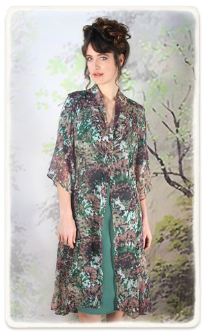 Nancy Mac Bonnie jacket in Fioretta print silk georgette - model shot