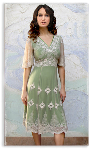Nancy Mac Cathleen dress in ivory and green lace