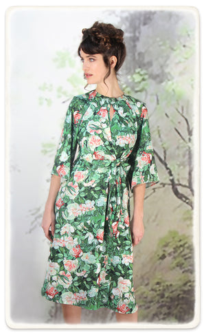 Dolce dress in Celadon rose print crepe - alternate model shot