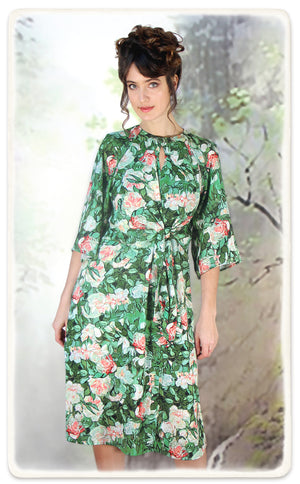 Dolce dress in Celadon rose print crepe - model shot