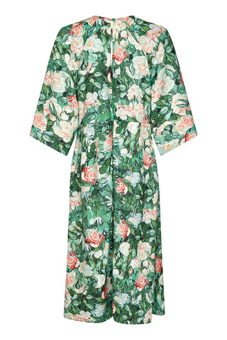 Dolce dress in Celadon rose print crepe - mannequin back