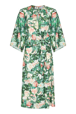 Dolce dress in Celadon rose print crepe - mannequin front