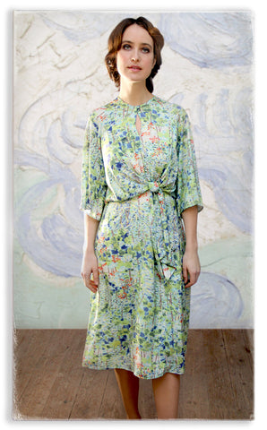 Nancy Mac knot dress in floral Painter's Garden print crepe