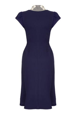 Nancy Mac Eliza dress in navy blue moss crepe - mannequin back