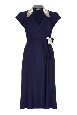 Nancy Mac Eliza dress in navy blue moss crepe - mannequin front