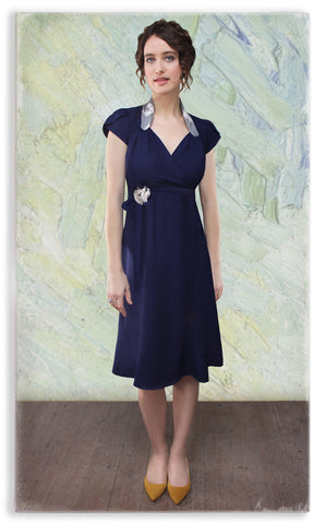 Nancy Mac Eliza dress in navy blue moss crepe
