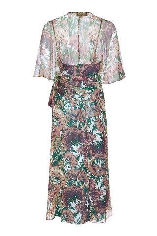 Nancy Mac Florrie dress in Fioretta print silk georgette - back mannequin shot