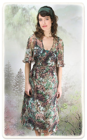 Nancy Mac Florrie dress in Fioretta print silk georgette - model shot