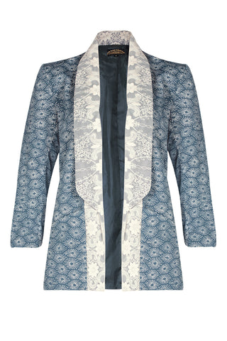 Nancy Mac Juno blazer - tuxedo-style jacket in Japanese print crepe - front mannequin shot