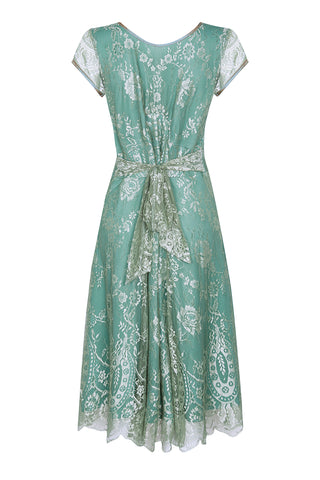 Nancy Mac Kristen dress in aqua shimmer lace - back mannequin shot