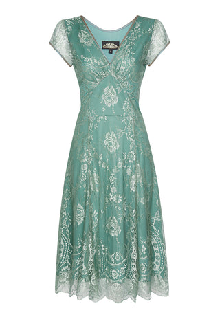 Nancy Mac Kristen dress in aqua shimmer lace - front mannequin shot