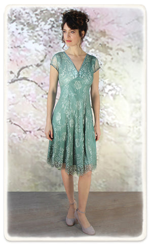 Nancy Mac Kristen dress in aqua shimmer lace - model shot
