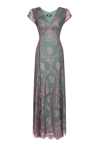 Kristen longline dress in moth and pink lace - front mannequin shot