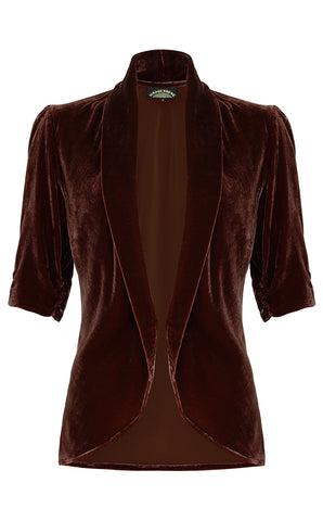 Lilliana jacket in chocolate silk velvet