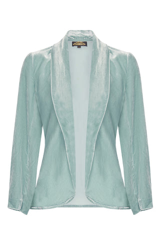 Nancy Mac Rosa jacket in seafoam silk velvet - front mannequin shot