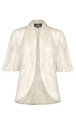 Nancy Mac Madeline jacket in ivory embroidered lace