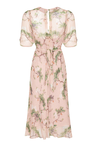Nancy Mac Mae dress in Cloudpine print silk georgette - back mannequin shot