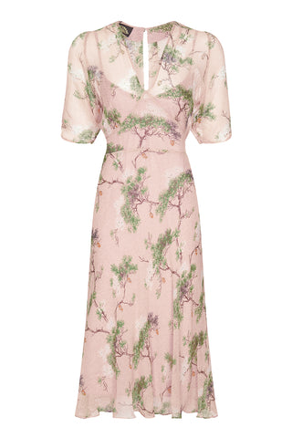 Nancy Mac Mae dress in Cloudpine print silk georgette - front mannequin shot