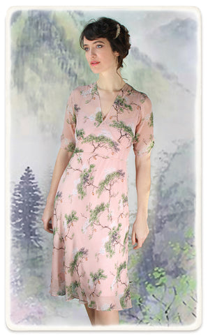 Nancy Mac Mae dress in Cloudpine print silk georgette - model shot