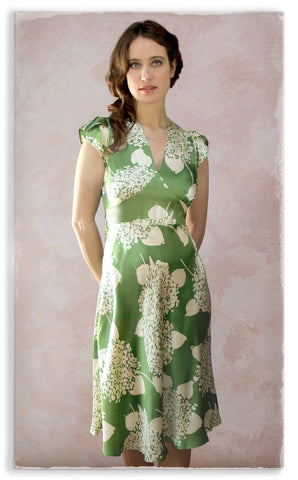 Nancy Mac Mae dress in green Hydrangea print crepe