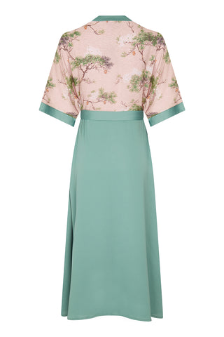 Marianne dress in lagoon crepe and Cloudpine print silk georgette - back mannequin shot