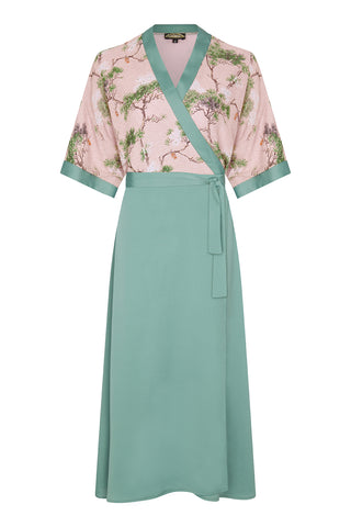 Marianne dress in lagoon crepe and Cloudpine print silk georgette - front mannequin shot