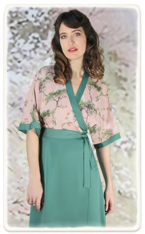 Marianne dress in lagoon crepe and Cloudpine print silk georgette - model shot