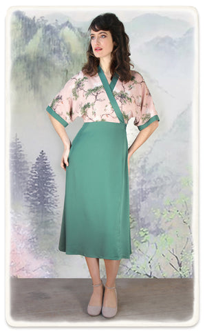 Marianne dress in lagoon crepe and Cloudpine print silk georgette - model shot full length