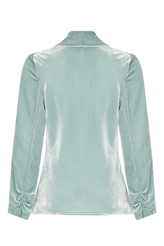 Nancy Mac Rosa jacket in seafoam silk velvet - back mannequin shot