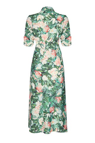 Sable dress in Celadon Rose print crepe - mannequin back