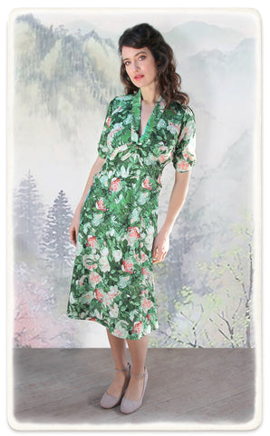 Sable dress in Celadon Rose print crepe - model