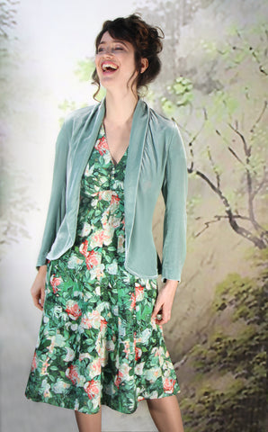 Sable dress in Celadon rose print crepe with Rosa jacket in seafoam silk velvet