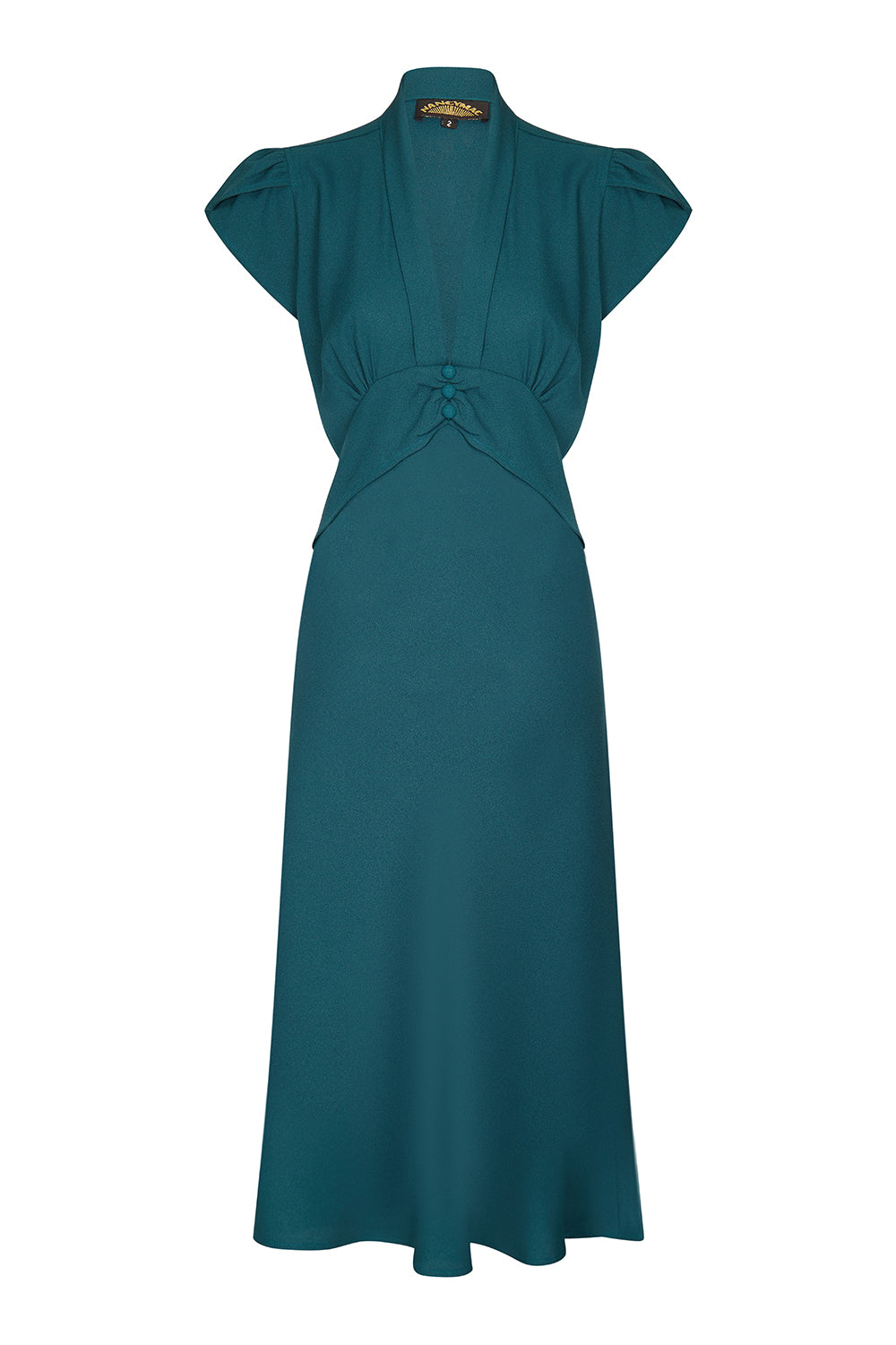 Nancy Mac Sable long-sleeve dress in emerald crepe - front mannequin shot
