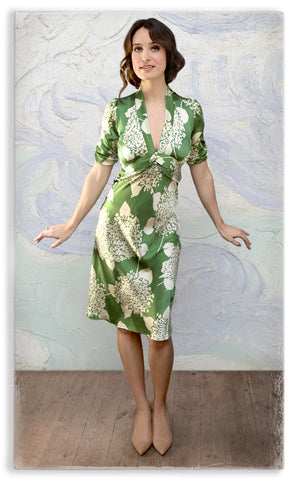 Nancy Mac Sable dress in green Hydrangea print crepe