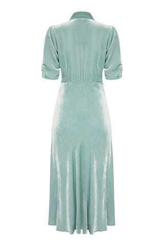 Nancy Mac Sable dress in seafoam silk velvet - back mannequin shot