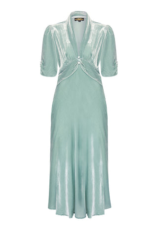 Nancy Mac Sable dress in seafoam silk velvet - front mannequin shot